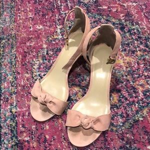 Ann Taylor pink suede heeled sandals size 7